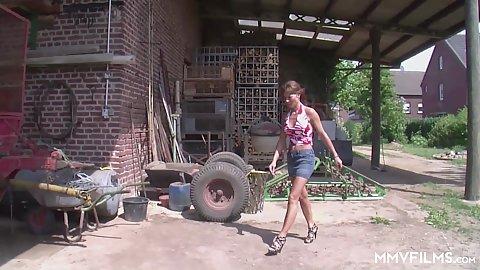 Miniskirti lady going to fuck the farm boy