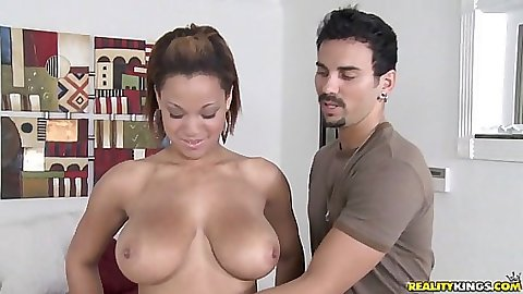 Huge tits latina takes off her pants