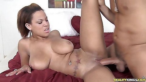 Big tits latina slut spreads legs with shaved pussy