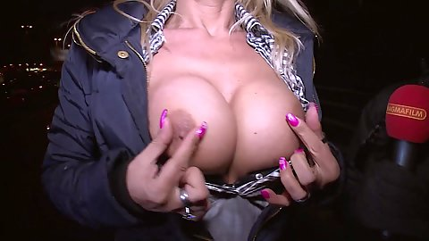 Pinching her nipples while flashing boobs in public Lana Vegas and Melina Pure and Texas Patti
