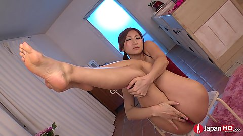Raunchy little solo asian Reira Aisaki shows some skin