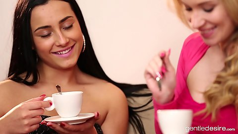 Sensual tea drinking girls Angel Piaff and Ana Rose