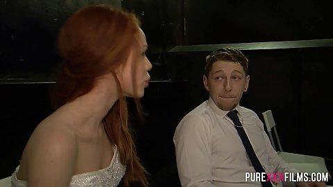 Fully dressed redhead Ella Hughes wearing a nice dress
