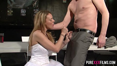 Blonde bride milf Stacey Saran jerking dick and makes husband watch