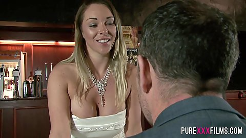 Nice looking bride Victoria Summers in her wedding dress sucks dick while husband not looking