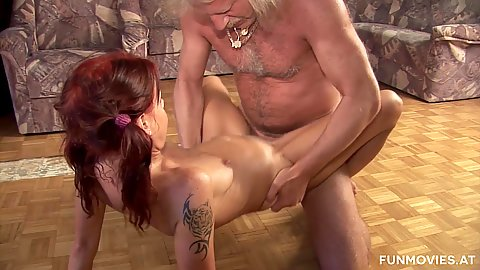 Fucking on the sticky floor with Lolita after pissing all over