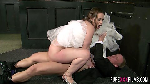 Naughty bride having sex with best man in her wedding dress Olga Cabaeva and Luke Hardy