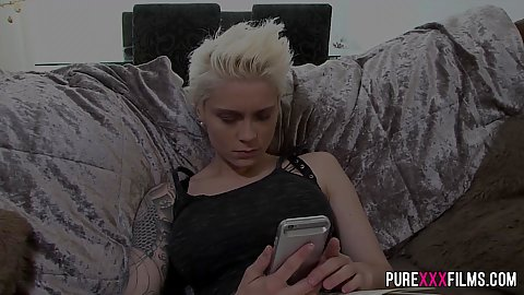 Blonde fully clothed Mila Milan calling out her buddy