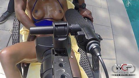 Medium chested ebony girl filmed in behind the scenes