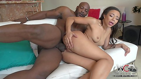 Nice looking black chick Adrian Maya sideways drilled