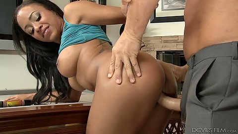 Satisfying black stepdaughter Anya Ivy having sex standing fuck