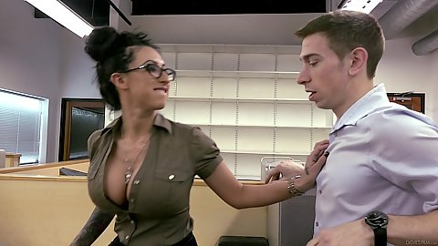 Super office latina babe Lily Lane pulling dude in to her cubicle