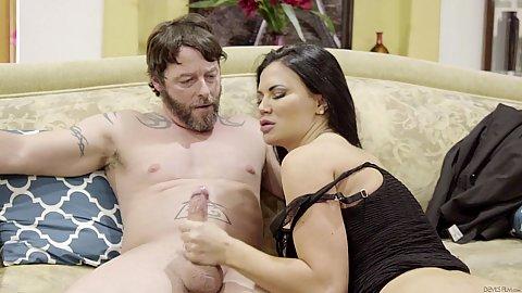 Monster large tits handjob and fellatio with seducing boss wife Jasmine Jae