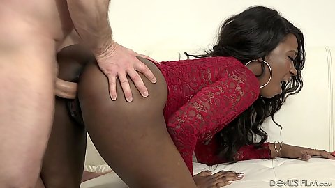 White cock and lovely black girl Skyler Nicole pussy slamming