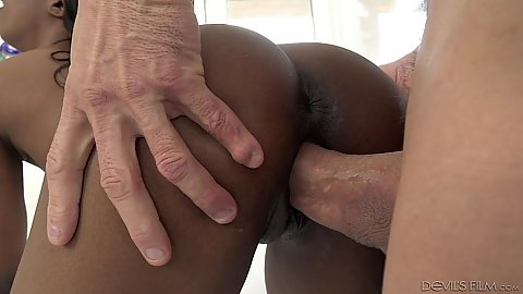 Tight little black girl Sarah Banks with tiny boobs fucks white cock