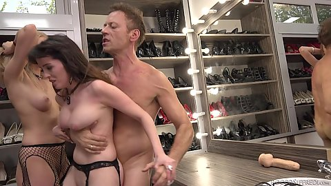 Two white slaves Natty Mellow and Bree Haze ass to mouth