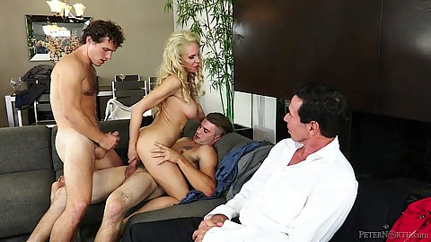 Husband watches while other men tare apart his busty housewife Nadia North