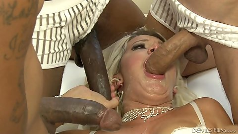 Group sex superb gang bang with white girl Layla Price and very large black dicks