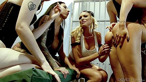 Horny ladies having lesbian group orgy in prison cell Romi Rain and Violet Monroe and Briana Banks