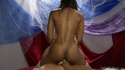 Cowgirl fuck with athletic slim black girl on white penis Nadia Jay