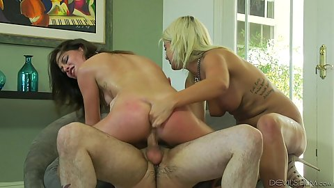 Married couple rough fucking their new mistress Layla Price and Kacie Castle