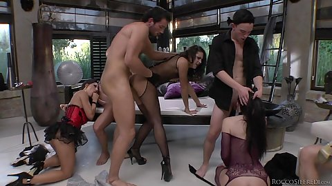 Begasus  and Hunter Leone and Anael Angeli  in group orgy sex