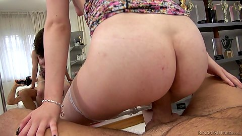 Reverse cowgirl cock grinding with natural tits fair skinned slut Amy White