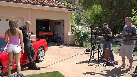 Outdoor filming behind the scenes ferrari scene