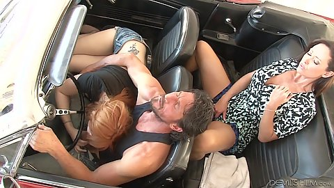 Mommy watching and masturbates as younger girl gives head in car Lauren Phillips and Christina Carter