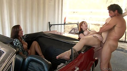 Horny mom likes to watch sex on a car Lauren Phillips and Christina Carter