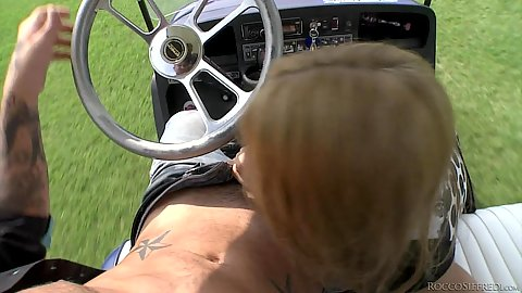 Outdoor golf cart blowjob with college whore and milf Tricia Teen and Nikky Thorne