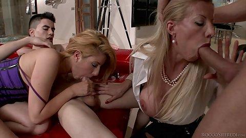 Lara de Santis and Leona Green in foursome young slut and milf fuck dudes