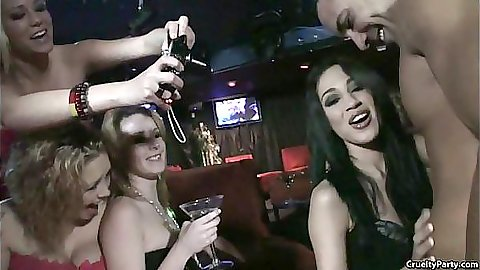 Cruelty party with horny female bachelorettes