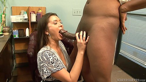 White fully clothed milf Cece Stone sucking some shaft in office