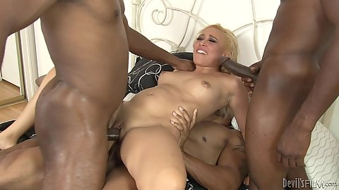 Double penetration with Tinslee Reagan moaning all over