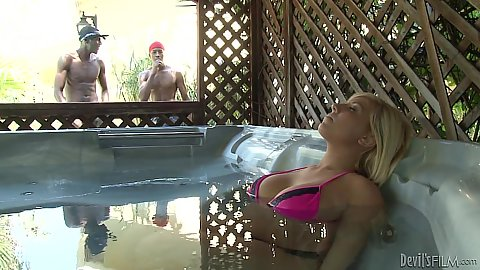 Heidi Hollywood was relaxing in the hot tub when a giant black cock appears