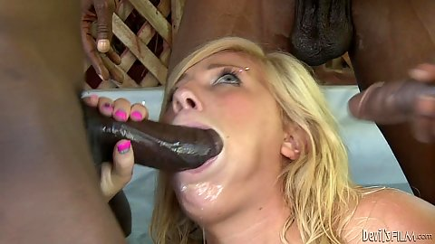 Heidi Hollywood sloppy blowjob with big black cocks