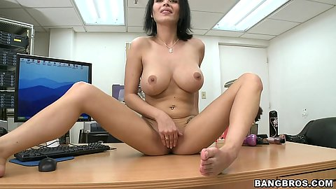 Sexy big tits milf spreading her pussy on the desk