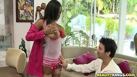 Allia shows off her big natural tits