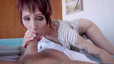 Lovely mature wake up blowjob with sd