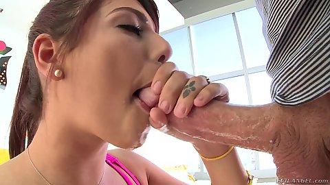 Wet cock sucking and saliva choking with Gina Valentina