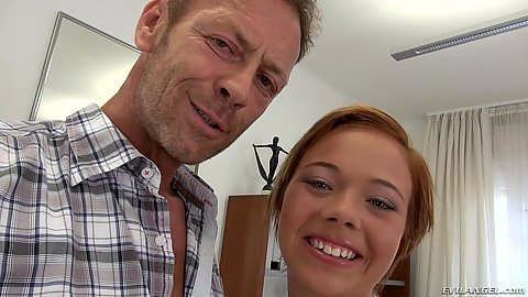 Smiling petite redhead Tricia Teen in for pov fuck