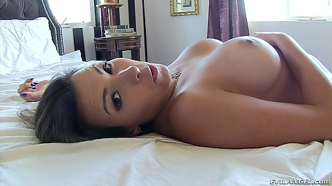 Super solo babe Danica Dillon stripping and enticing us on the bed