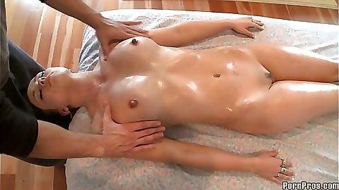 Big tits babe turns around to get a boob massage