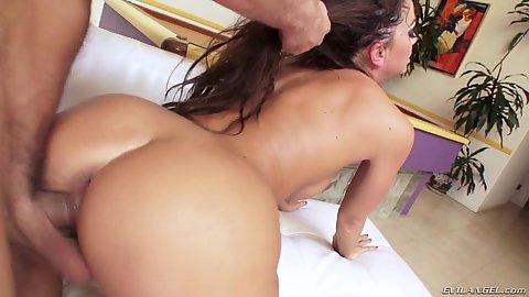 Hairy pulling rear penetration for Abigail Mac