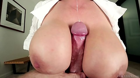 Nice business suit asian milf Kianna Dior pov titty fuck