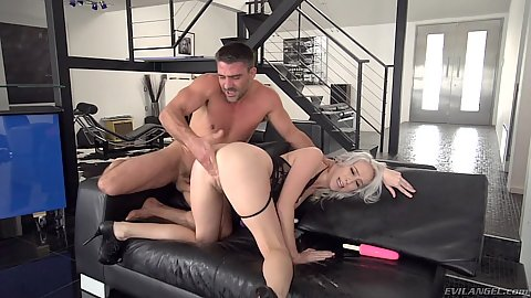 Fingering and deep throat with evil squirter Cadence Lux