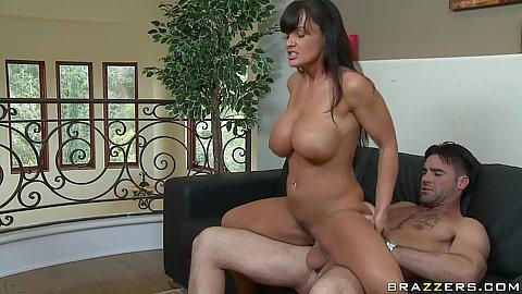 Big tits milf sideways penetrated on the leather sofa