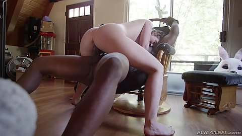 Interracial cowgirl chair fuck with Jodi Taylor