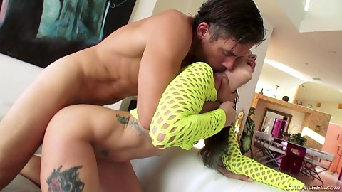 Rear entry anal loving with spunked cheerful brunette Gia Paige